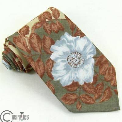 Cravatta PRETTY TIES Beige Azzurro Floreale 100% Cotone Made in Italy Tie