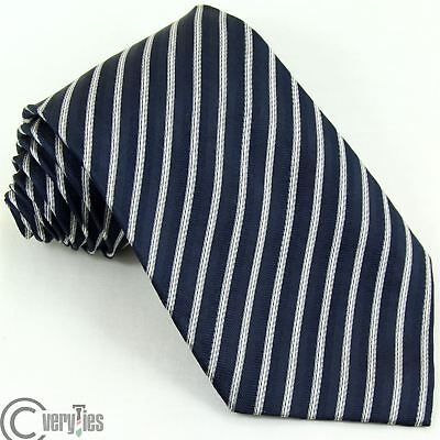 Cravatta Glassica LUCA D'ALTIERI Blu Argento Righe 100% Seta Made in Italy Tie
