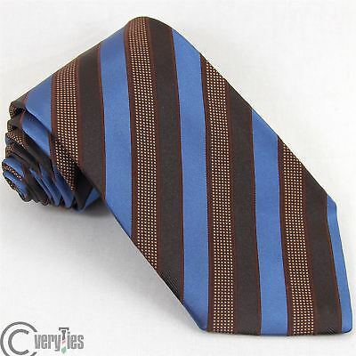 Cravatta Ufficio GABRIELE SOVRANI Marrone Blu Righe 100% Seta Made in Italy Tie