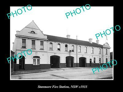 OLD LARGE HISTORIC PHOTO OF STANMORE FIRE BIRGADE STATION, SYDNEY NSW c1935