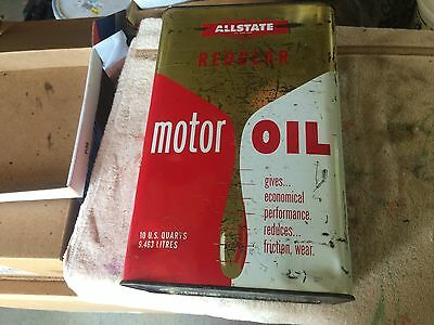 "Vintage Allstate Motor Oil Can 10 US quarts appr. 13"" x 8.5"" x 5.5"" empty"