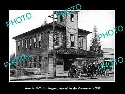OLD LARGE HISTORIC PHOTO OF GRANITE FALLS WASHINGTON, THE FIRE DEPARTMENT c1940