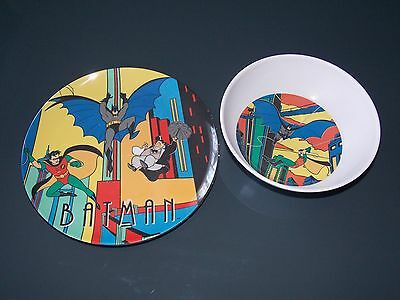 BATMAN ANIMATED SERIES Plate & Bowl SET - USED