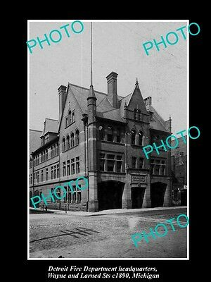 OLD HISTORIC PHOTO OF DETRIOT MICHIGAN, FIRE DEPARTMENT WAYNE St STATION c1890