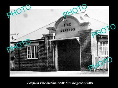 OLD LARGE HISTORIC PHOTO OF FAIRFIELD NSW, THE NSW FIRE BRIGADE STATION c1940s