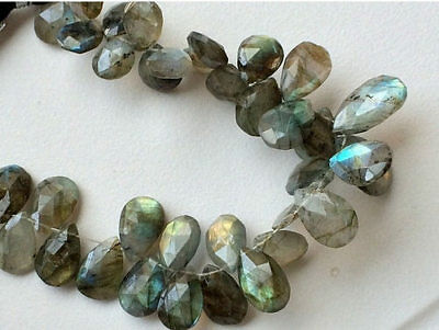 """10"""" Strand Labradorite Beads, Faceted Pear Labradorite Beads, Fire Labradorite"""