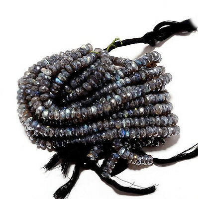 """4"""" Strand Coated Labradorite Beads, Micro Faceted Labradorite Rondelle Beads"""