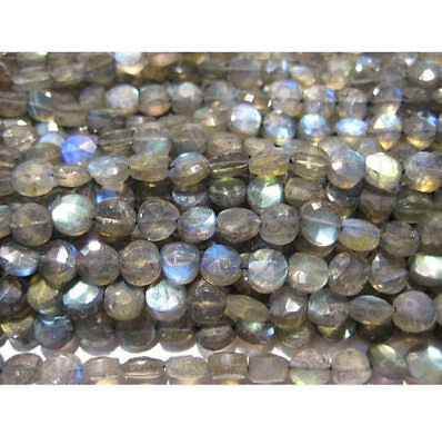 """14"""" Strand Labradorite Coin Beads, Fire Amethyst Gemstones, Faceted Amethyst"""