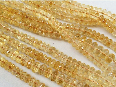 """3"""" Strand Citrine Beads,  Micro Faceted Citrine Rondelles, Citrine Necklace"""