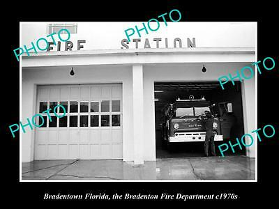 OLD LARGE HISTORIC PHOTO OF BRADENTOWN FLORIDA, FIRE DEPARTMENT STATION c1970s