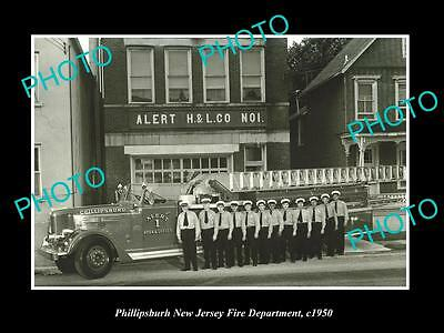 OLD LARGE HISTORIC PHOTO OF PHILLIPSBURG NEW JERSEY FIRE DEPARTMENT H&L c1950