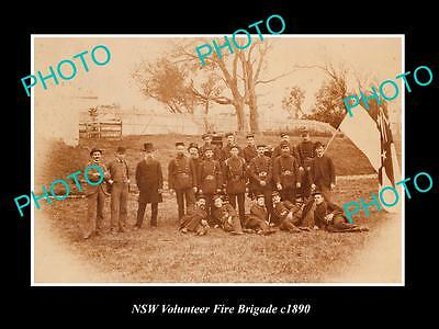 OLD LARGE HISTORIC PHOTO OF NSW VOLUNTEER FIRE BRIGADE CREW c1890