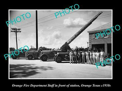 OLD LARGE HISTORIC PHOTO OF ORANGE TEXAS, THE FIRE DEPARTMENT STATION c1950 1
