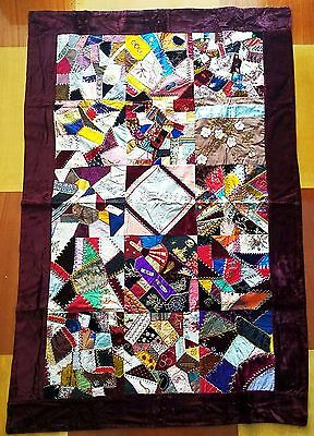 Finest Quality Antique Crazy Quilt - Brilliant Colors - Ex. Cond. STOKES ESTATE