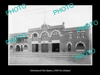 Old Large Historic Photo Of Christchurch Fire Brigade Station, 1910 New Zealand