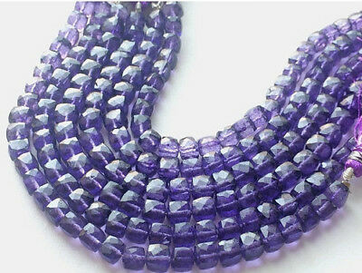 """8"""" Strand Crystal Quartz, Coated Box Cube Beads, Micro Faceted Crystal Quartz"""