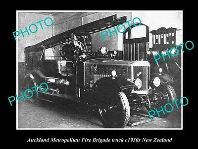 OLD LARGE HISTORIC PHOTO OF AUCKLAND FIRE BRIGADE TRUCK, 1930s NEW ZEALAND