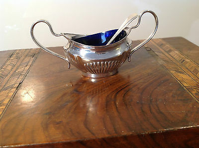 Vintage Oval Salt or Mustard dish Silver Plated footed with Spoon