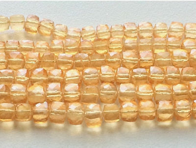 """4"""" Strand, Crystal Quartz, Coated Box Cube Beads, Micro Faceted Crystal Quartz"""