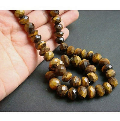 """18"""" Strand 66 Pcs, Tigers Eye Rondelle Beads, Faceted Tigers Eye Gemstone Beads"""