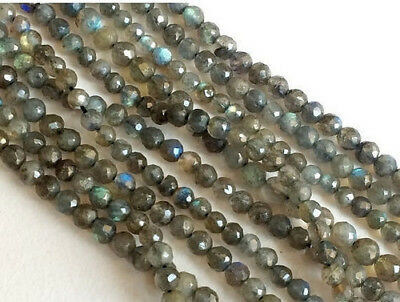 """13"""" Strand, AAA Labradorite Gems, Round Beads, Faceted Labradorite Beads Neclace"""