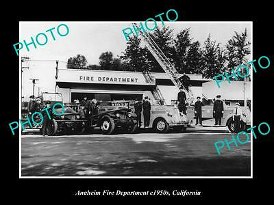 Old Large Historic Photo Of Anaheim California, View Of The Fire Department 1950