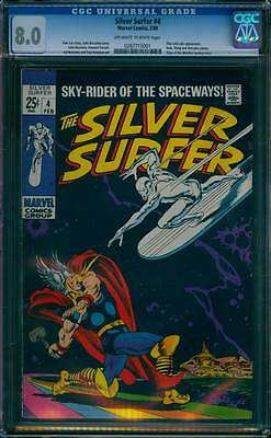 Silver Surfer # 4  Classic Surfer vs Thor Cover !  CGC 8.0 scarce book !