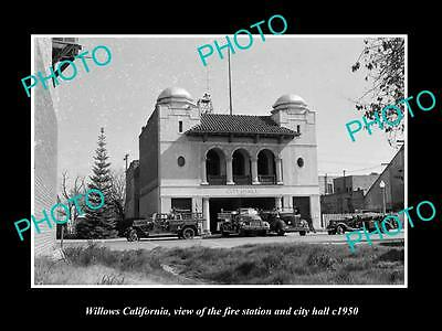 OLD LARGE HISTORIC PHOTO OF WILLOWS CALIFORNIA, FIRE STATION & CITY HALL c1950