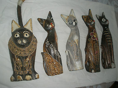 Ancient Egyptian Goddess VTG Wooden Handcrafted Cat Figurine set of 5