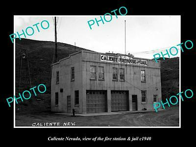 OLD LARGE HISTORIC PHOTO OF CALIENTE NEVADA, THE FIRE STATION & JAIL c1940