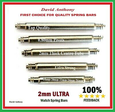 ULTRA STRONG 2mm EXTRA THICK WATCH SPRING BARS/PINS STAINLESS STEEL 18mm to 26mm
