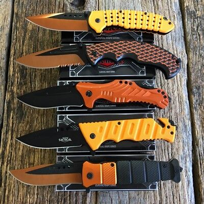 5 PC ORANGE Lot Assorted Spring Assisted Open TACTICAL Pocket Knife Combat -TH