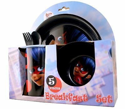 Miraculous 'Ladybug' 5 Piece Breakfast Dinner Set Brand New Gift