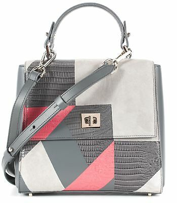 BOSS HUGO BOSS Gray Pink Suede Crocodile Embossed Leather Patchwork Satchel