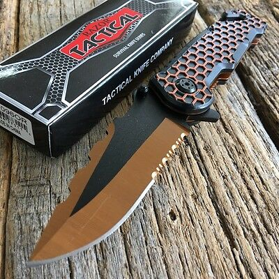 """8.5"""" Orange RAZOR BOWIE Spring Assisted Open TACTICAL Pocket Knife 5 COLORS -TH"""