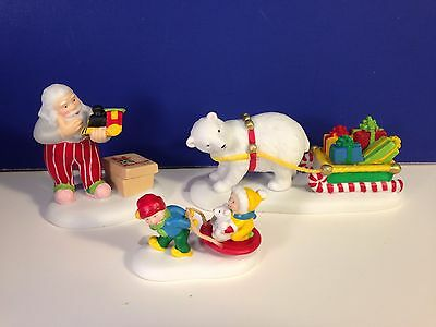 Dept 56 North Pole Village JOLLY FELLOWS ACCESSORY SET of 3 w/ box BRAND NEW!