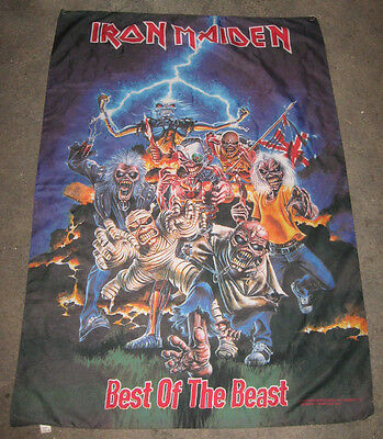 0ebfa1e16ba6c 1996 Iron Maiden Best Of The Beast Album RARE Vintage Poster Cloth Flag  Tapestry
