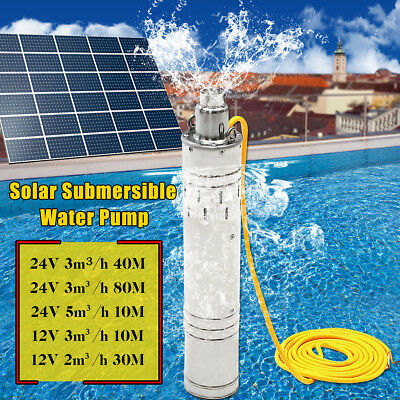 AU 12V/24V 10/30M/40M/80M Steel Deep Well Solar Submersible Water Pump 2/3/5m³/h