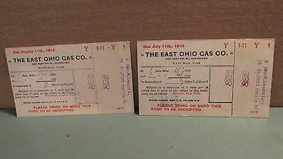 2 Bills For East Ohio Gas Company, 1914 -- 90 Cents A Month!