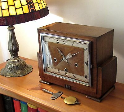 Superb English Art Deco Westminster Chiming Mantle Clock In Excellent Condition