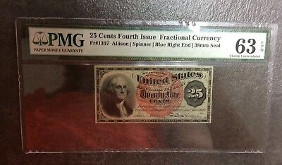 25 cent FOURTH 4th ISSUE Fractional U.S. Currency FRN #1307 PMG 63 EPQ CU