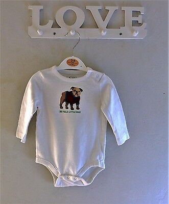 Baby Gap Baby Boy White Long Sleeved Vest with Bulldog Motif 3-6 Months