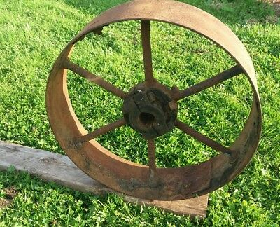 """Cast iron wheel 20"""" old stationery engine pulley wheel"""
