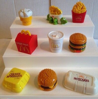 Vintage 1991 McDonalds McDino Changeables Happy Meal Toy Set of 8 + Under 3