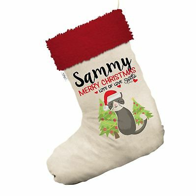 Merry Christmas Cat With Trees Personalised White Christmas Stocking Red Trim