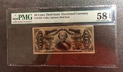 50 cent THIRD 3rd ISSUE Fractional U.S. Currency FRN #1324 Red Back PMG 58 EPQ