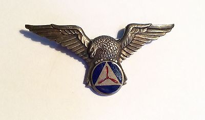 WWII sterling military badge - enamel propeller and eagle