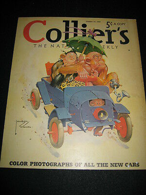 Vintage 1940 Colliers Magazine Lawson Wood Monkeys Driving Car Cover Print Ad