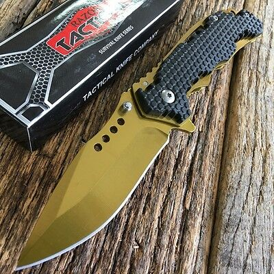"""8"""" GOLD RAZOR BOWIE Spring Assisted Open TACTICAL Pocket Knife NEW -TH"""