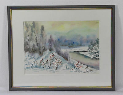 """Winter Landscape """" signed """" Russia Россия Russian Watercolor a masterpiece Top"""